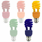 2 X 13W LOW ENERGY SAVING COLOUR PARTY BULBS LARGE BAYONET CAP BC B22 - NEW