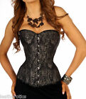 Brocade Silk corset  basque over bust bustier top full steel boned tight lacing