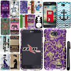 For LG Optimus L70 MS323 Rubberized PATTERN HARD Case Phone Cover + Pen