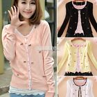 4 Colors Autumn Women's Girls Sweet Mini Bowknot Cardigan Sweater Coat Outwear
