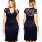 Sexy Women Lady Short Sleeve V-Neck Floral Lace Bodycon Pencil Plus Size Dress