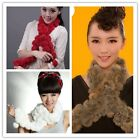 Winter Rabbit Fur Scarf Neck Scarves Wraper Shawl Muffler Wraps Warm Chic -LA