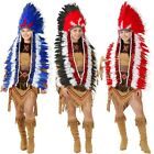 american indian dress - Indian Headdress Adult Native American Costume Feather Chief Fancy Dress
