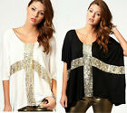 Women Sequin Cross Print Casual Loose Big Pluse Size T-Shirt Tops Blouse M-2XL