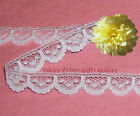 "15/30 Yards White Lace Trim Vintage 5/8"" Scalloped M30AV Buy More-Ship No Charge"