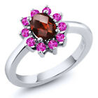 1.30 Ct Oval Checkerboard Red Garnet Pink Sapphire 925 Sterling Silver Ring