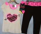 POGO CLUB 3 pc Neon Pink Heart Top w/Leggings and Matching Socks GIRL SIZES NWT