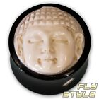 BUDDHA HORN PLUG KNOCHEN flesh tunnel piercing meditation buddhismus holz om goa