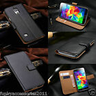 Genuine Real Leather Wallet Stand Book Portfolio Case Cover+Stylus Pen+CC Slots