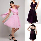 Donna Bella Bridesmaid Wedding Prom Party Girl Taffeta Chiffon convertable Dress