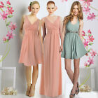 Drape V Neck Wedding Party Bridesmaid Cocktail Day Holiday Stretchy A line Dress
