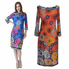 Womens Floral Print Stretchy Knee Length Day Holiday Tea Sun Dress Column Sleeve