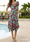 NEW Sz Embellished Tea Ladies Summer Casual Chiffon Turquoise Dress