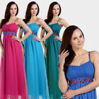 Strappy Bridesmaid Wedding Party Chffion Maxi Full Bling Dress Formal Prom Women