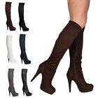 New Ladies Platform Womens Knee High Zip Up Stiletto Heeled Boots Shoes Size 3-8