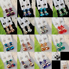 Crystal Faceted Beads Gemstone Dangle Earrings Pair WB237