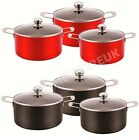 3 PCS INDUCTION ALUMINIUM CASSEROLE COOKWARE STOCKPOT PAN POT SET WITH GLASS LID