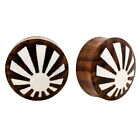 RARE Pair Rising Sun Sono Wood & Buffalo Bone Organic Ear Plugs Flesh Unique