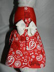 DOG CAT FERRET Custom Harness Dress~Red Country Cow Girl Paisley Paw Print Bow