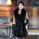 New Real Mink Fur And Sheep Leather Vest Gilet With Fox Collar Fashion QD21935
