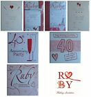 RUBY WEDDING ANNIVERSARY Party INVITATIONS & Envelopes {Fixed £1 p&p}(RA PI)