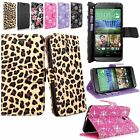 For HTC One E8 2014 Pu Leather Flip Wallet Card Pocket Stand Case Cover W/Strap