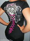 New METAL MULISHA Maidens Black HOT PINK Corset ROSE Top T-Shirt S M L XL