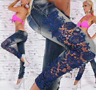 Sexy Womens Blue Skinny Jeans with Luxury Applique Lace Size UK 6 8 10 12 14