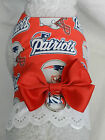 DOG CAT FERRET Harness~New England NFL Team PATRIOTS Cheerleader RED Bow & Lace