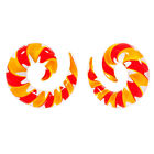 PAIR Of 2 Orange & Yellow Pyrex Glass Spiral Talons Taper Plugs Choose Gauge