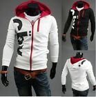 Fashion Mens Top Designed Slim Fit Hoody Jacket Zip Hoodies Tops White/Black -LA