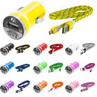 Braided Rope Micro USB Flat Noodle Data Cable 3FT+Car Charger 2.1A For Phones
