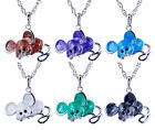 50% OFF New Jewelry Cute Mouse Crystal Pendant Necklace Long Chain Lady's Gift
