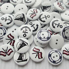 New 10/50/100/500pcs Boat Anchor Wood Buttons 20mm Sewing Craft Mix Lots E634