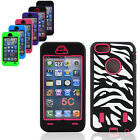 Silicone Shockproof Zebra Combo Hard Protective Phone Case For Apple iPhone 5c