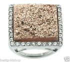 QVC Simulated Bronze Tone Drusy Quartz Ring Stainless Steel by Design J272086