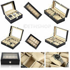 3/6/10/12 Grid Leather Watch Case Organiser Bracelet Storage Display Box Pillows