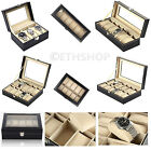 3 10 12 Black Leather Watch Case Bracelet Storage Display Box Pillows Glass Top