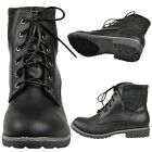 Womens Faux Leather Lace Up Knitted Block Heel Combat Ankle Boots Black