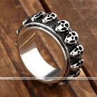 1pc Men's Punk Stainless Steel Skull Head Spinner Rotating Finger Ring Jewelry