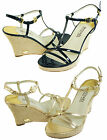 Michael Kors Womens Kami Navy or Gold Ankle Strap Buckle Wedge Open Toe Sandals