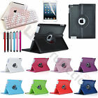 For New Apple iPad 4 3 2 Swivel Leather Case Smart Cover With Bluetooth Keyboard