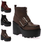 New Ladies Chunky High Heel Womens Cleated Sole Zip Ankle Boots Shoes Size 3-8