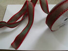 ART DECO style edge Shimmer Red & Green Christmas - Luxury Wire Edged Ribbon