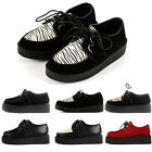 Ladies Platform Lace Up Womens Flats Creeper Goth Punk Casual Shoes UK Size 2- 9