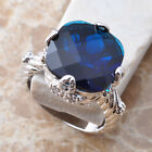 Awesome Blue Sapphire Gemstone Silver Jewelry For Women Size 6 7 8 9 S0957