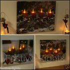 FIBRE OPTIC LED BATTERY CHRISTMAS XMAS HANGING WALL CANVAS PRINT PAINTING LIGHT