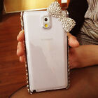 Super Bling Bow Diamond Clear Case Cover For Samsung Note IV 4 N9100 III 3 N9000