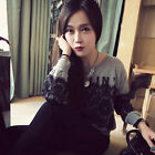 Women's Lace Tops Print Sweatshirts Round Neck Tee Shirt Blouse Winter Pullover