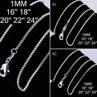 "HOT SALE��WHOLESALE 1MM 16""-24"" 925SILVER TOP JEWELRY CHARM CHAINS NECKLACE 05j0"